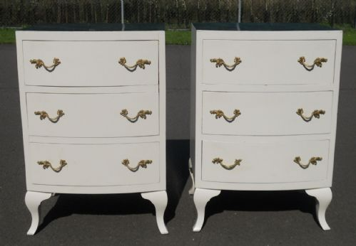 Pair Painted Small Bowfront Chest of Drawers